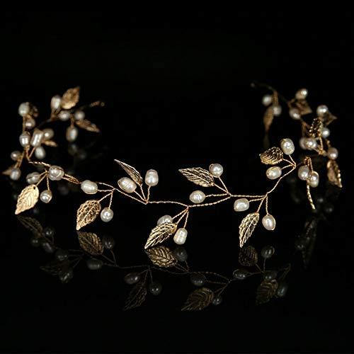 KANEED Hauptbänder Hoops Luxus Gold und Silber Stirnbänder Haarschmuck Perle Kristall Blatt Braut...