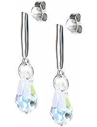 queenberry elementos de Swarovski Crystal lágrima plata de ley Stud Post Dangle Earrings
