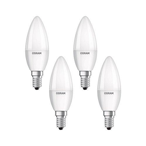 Osram LED Base Classic B Lampe, in Kerzenform mit E14-Sockel, nicht dimmbar, Ersetzt 40 Watt, Matt, Kaltweiß - 4000 Kelvin, 4er-Pack -