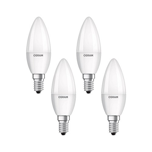 Osram LED Base Classic B Lampe, in Kerzenform mit E14-Sockel, nicht dimmbar, Ersetzt 40 Watt, Matt, Warmweiß - 2700 Kelvin, 4er-Pack