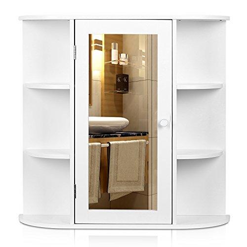 HOMFA Landhaus Hängeschrank Wandschrank Badschrank Küchenschrank Medizinschrank Wandboard Regal Weiß 66x17x63cm (Spiegelschrank Weiß xxl)