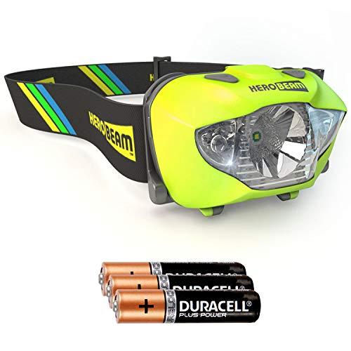 HeroBeam® LED Stirnlampe - Beste Taschenformat Kopflampe zum Joggen, Wandern, Gassi gehen, Angeln, Radfahren, Lesen, Handwerk oder Naturabenteuer. Weiß/Rot Licht Modi, Notfall S.O.S. Blitz Modus - Sehr helle CREE XP LED mit bis zu 168 Lumen! - Leicht, Bequem und Wetterfest - einschließlich langlebiger DURACELL Batterien - 5 Jahre GARANTIE (Gelb)