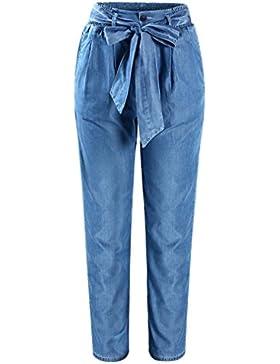Las mujeres más tamaño grande de cintura alta cintura elástica pantalones casuales holgados sueltos para mujeres