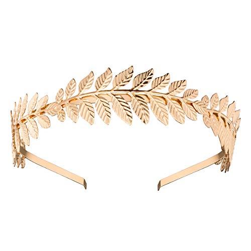NUOLUX Römische Göttin Blatt Niederlassungsleiter zierliche Braut Haar Krone Kleid Boho Haarreif (Gold)