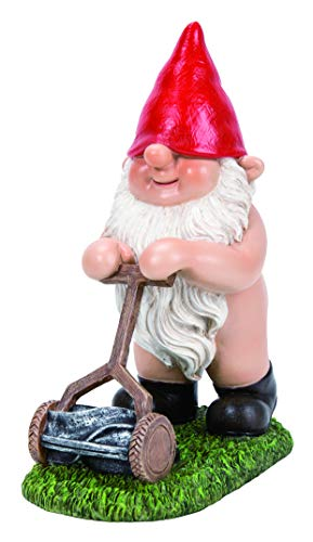 Vivid Arts - Gnaughty Gnome Mowing Lawn Home or Garden Decoration (BG-PN75-F)