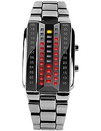 SKMEI - Reloj Digital LED Resistente al Agua Banda de Acero Inoxidable Reloj Electrónico Watch Waterproof