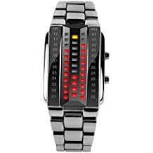 SKMEI - Reloj Digital LED Resistente al Agua Banda de Acero Inoxidable Reloj Electrónico Watch Waterproof para Mujeres - Plateado