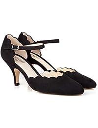 1e308d3af72 Beyond Skin Vegan Shoes Vivienne Black Scallop Mary-Jane Vegan Shoes