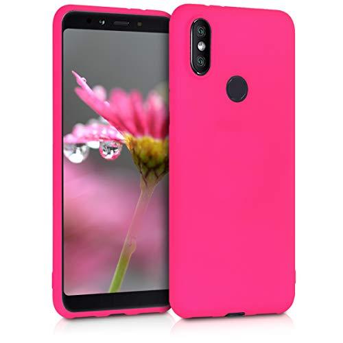 kwmobile Funda para Xiaomi Mi 6X / Mi A2 - Carcasa para móvil en TPU Silicona - Protector Trasero en Rosa neón