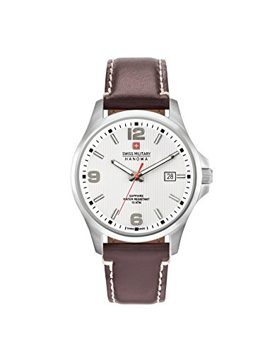 Swiss Military Hanowa Herren Analog Quarz Uhr mit Leder Armband 06-4277.04.001