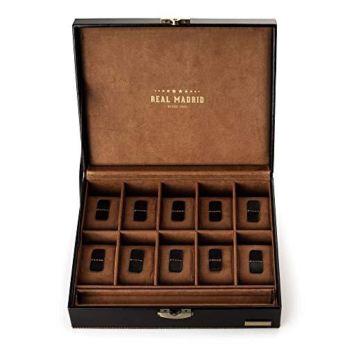 Real madrid - porta orologi con 10 divisori individuali in pelle vera di massima qualità. colore marrone. rmj-80002b