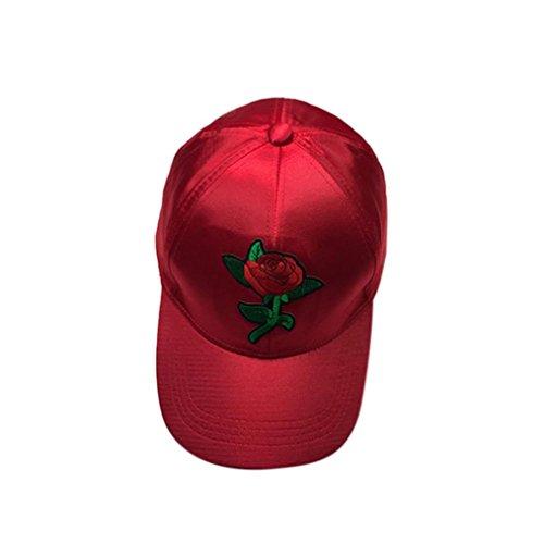 AMUSTER.DAN Frauen Herren Rose Stickerei Baseball Cap Snapback Caps Hip Hop Hüte (Rot)
