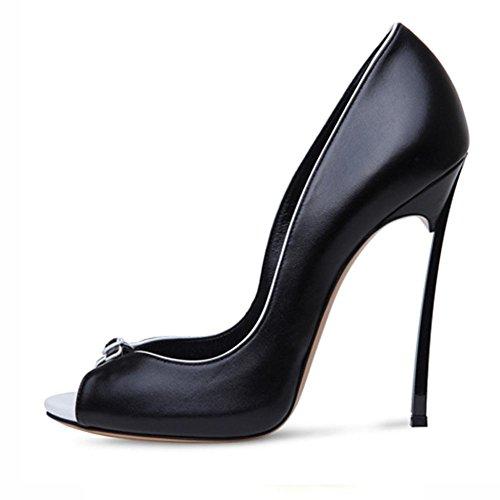 Donna Sbirciare Dito del piede Stiletto Le signore alto Tacco sandali Scarpe Moda Festa Ballo di fine anno nuziale Sera Dimensione Black