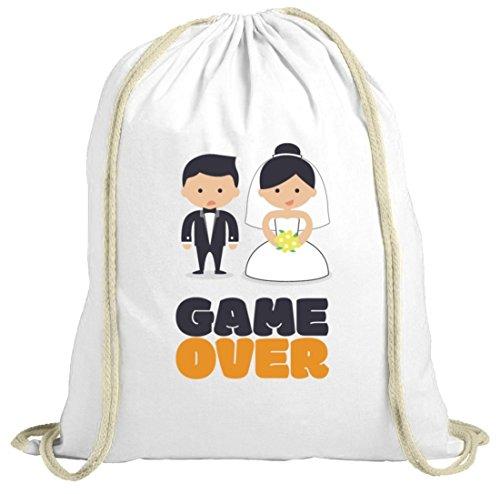 Junggesellenabschieds JGA Hochzeit natur Turnbeutel Married Couple Game Over weiß natur