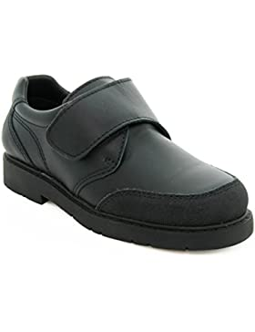 Zapatos Escolares para niño de Piel, con la Puntera Reforzada y Cierre de Velcro