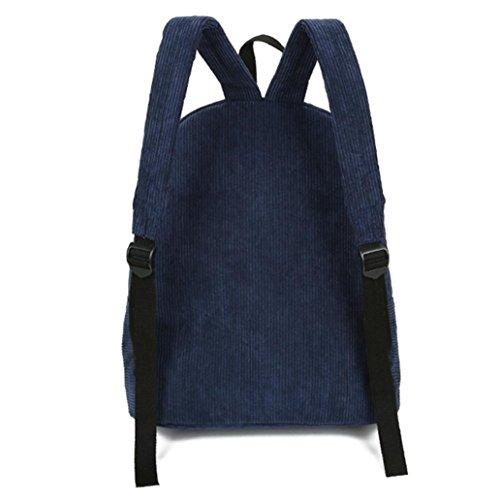 Longra cartella del sacchetto del velluto a coste del braccialetto dello zaino chic preppy del corduroy Blu