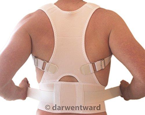 new-back-support-brace-posture-correction-adjustable-neoprene-lumbar-medium-white