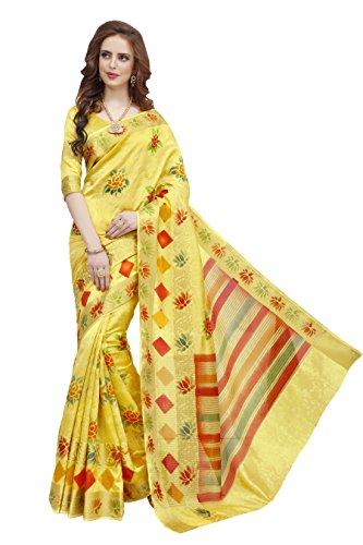Pehnavaa Women's Yellow Nylon Jacquard Banarasi Silk sarees