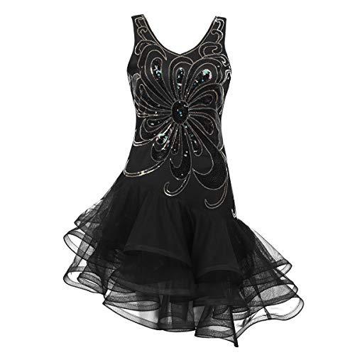 Alvivi Damen Pailletten Kleider Tanzkleid Latein Rumba Cha Cha Tango Samba Ball-Kleid Gymnastikanzug Damen Party Kostüm Kleid Schwarz XL (Schwarz Ballkleid Kostüm)