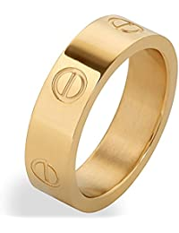 Gold Titanium Steel Love Ring