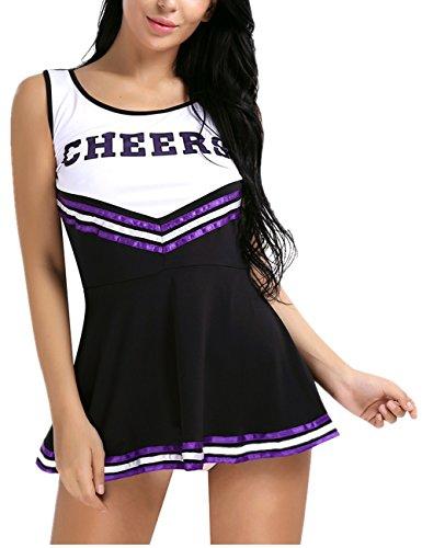 Freebily Damen High School Mädchen Musical Cheer Leader Uniform Halloween Kostüm - Schwarz - Large (31.0/46.0