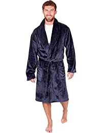 20397bf487 Mens Hooded Dressing Gown Shawl Collar Luxury Nightwear Bathrobe Plus Size  New