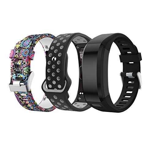TOPsic Garmin Vivosmart HR Armband, Zubehör Verstellbares Weiches Silikon Bracelet Sport Armband Entwickelt für Garmin Vivosmart HR Smart Watch (3p)