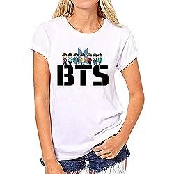 BTS Mujeres Tops Verano ImpresiÓN Manga Corta T-Shirt Ocasionales Camisetas Cómodo Cuello Redondo Remeras