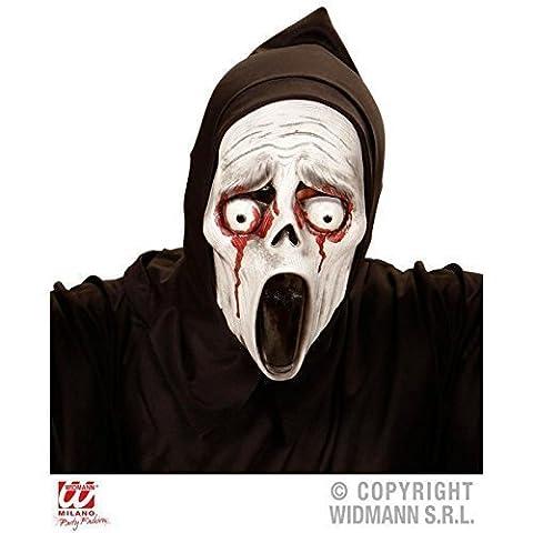 Halbmaske screaming Ghost mit blutigen Augen & Kapuze / Halloween / Kostümzubehör (Graue Geist Kostüm)