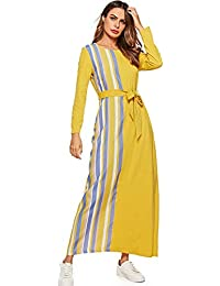 MEYINI Robes de Caftan Musulmanes Robe Longue à Manches Longues élégante  Abaya ... f67929f118f