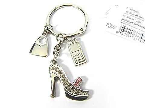 Bleu ou Rose ton argent cristal Diamante Stiletto Talon Haut Chaussures Charme Porte-clés, argent