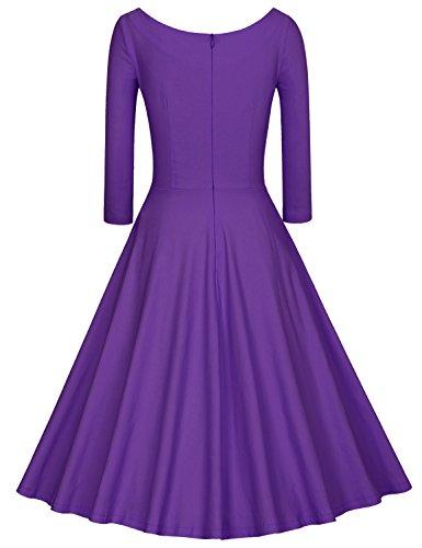 MUXXN Damen 3/4 Ärmel Retro Kleider Rund-Ausschnitt Kleid Party Swing Kleid Rockabilly Violet