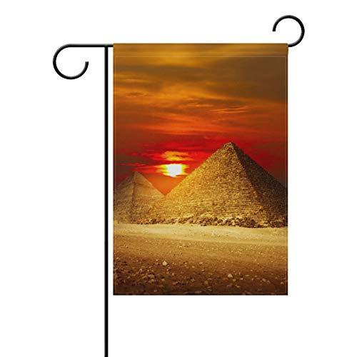 Gartenflagge antike Ägypten Sonnenuntergang Pyramiden 30,5 x 45,7 cm Banner doppelseitig für Rasen Hof, Außendekoration, Polyester, Image 862, 12x18(in) Pyramide Marine