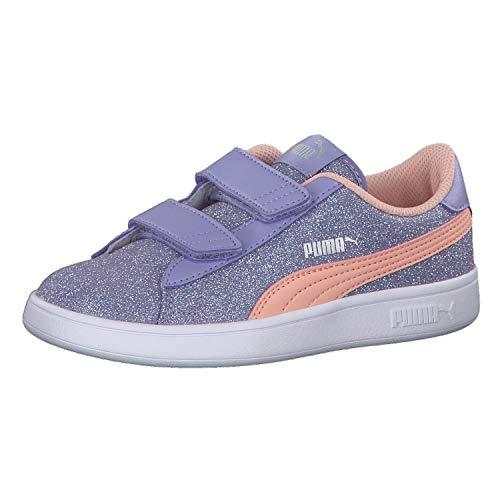 8435469de15d10 10. Puma Mädchen Smash V2 Glitz Glam V Ps Sneaker Violett (Sweet  Lavender-Peach Bud Silver White)