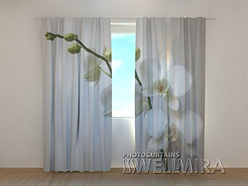 Design Gardinen 3D Vorhänge Bedruckt Blumen Vorhang Orchidee Motiv  Fotovorhang Fotogardine.