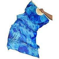 Danza Del Vientre Ventilador De Seda Real Costuras De Bambú Hecho A Mano Etapa Rendimiento Entrenamiento Profesional Colores Vibrantes Elásticos 1.8M De Largo L + R,L+R(1.8M)
