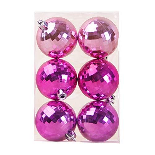 6 Stück Weihnachtskugel Dekoration 6cm/8cm, Christbaumkugeln,Kunststoff-Weihnachtskugel-Set, Bruchsicher Weihnachtsschmuck (Farbe : Pink, Size : 6cm)