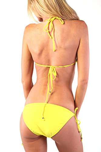 Ingear Neon Solid Bikini Swimsuit Yellow