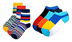 Color Fevrr Mens Cotton Calf Socks (Multi-Coloured, Pack of 6)
