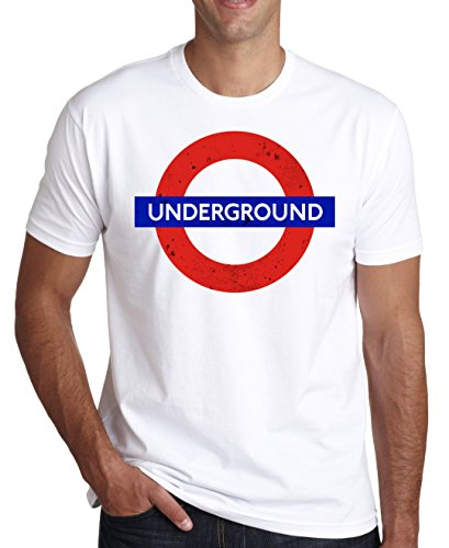London Underground Retro Dirty Logo Blue And Red Men's T-Shirt XX-Large