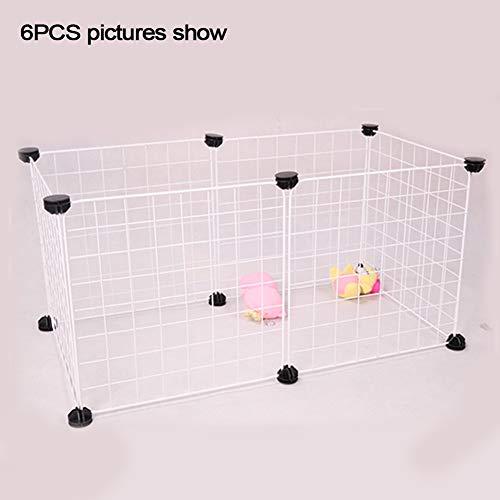 Recinzione per animali domestici, piccola gabbia per conigli, cani, recinzione pieghevole in ferro per interni ed esterni Taglia libera bianco