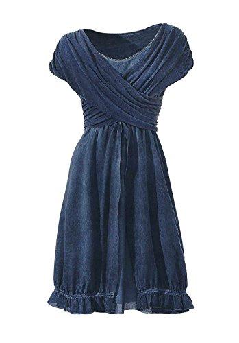 Linea Tesini Damen-Kleid Wickelkleid mit Nieten Blau Größe 40