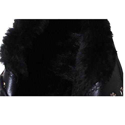 QPYC Gli alti talloni delle donne impermeabilizzano la caricatura del Martin del merletto del tallone della piattaforma degli alti talloni stivali neri caldi black
