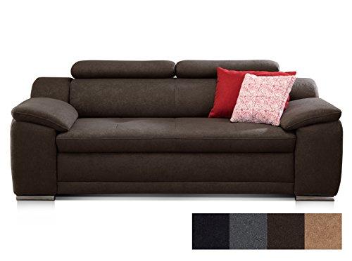 CAVADORE 2-Sitzer Sofa Aniamo mit Verstellbaren Kopfteilen/Kleines Sofa, Modernes Design/Größe: 180 x 80 x 95 cm (BxHxT) / Farbe: Braun