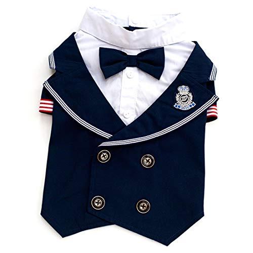 Kostüm Blues Kleid Marines - WHWH Haustier-Kleidung Marine-Anzug-beiläufiges Haustier-Kleid-Herr-Fliegen-Fliegen-Haustier-verheirateter Hund kleidet Baumwollproduktion,Blue-XL