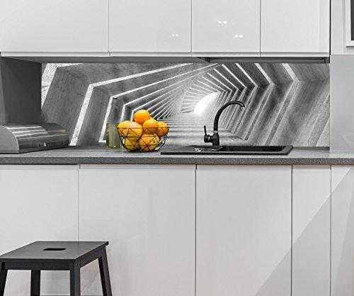 wandmotiv24 Küchenrückwand beleuchteter Beton-Korridor 210 x 60cm (B x H) - Acrylglas 4mm Nischenrückwand Spritzschutz Fliesenspiegel-Ersatz M0794