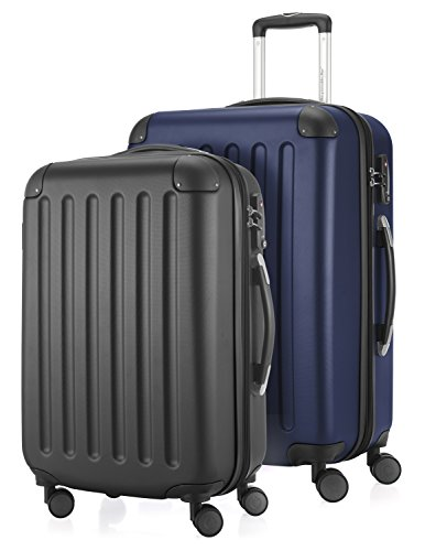 HAUPTSTADTKOFFER - Spree - 2er Koffer-Set Hartschale matt, TSA, 65 cm + 55cm, 82 Liter + 49 Liter, Schwarz-Dunkelblau
