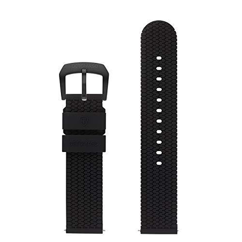 DETOMASO Uhrenarmband Silikon-Armband 20mm 22mm 24mm mit Schnellwechsel Federsteg und Dornschließe (20mm, schwarz - Schwarze Schließe)