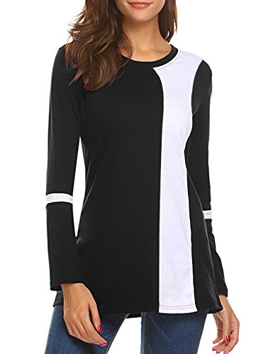 shermie Women's Long Sleeve Color Block Loose Fit Tunic Dressy Tops Ladies Blouses