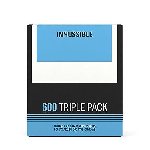 Impossible 4596 Type 600 Triple Pack (2x Color und 1x B&W Film) für Polaroid Kamera weiß